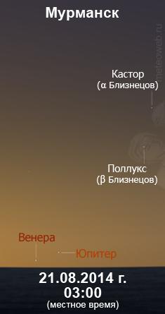 Венера и Юпитер 21 августа 2014 г. Вид на широте Мурманска.