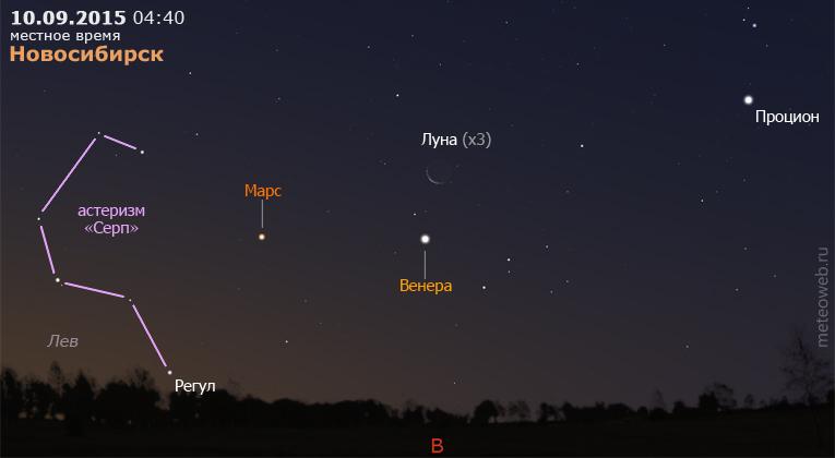 Венера, Марс и убывающая Луна на утреннем небе Новосибирска 10 сентября 2015 г.