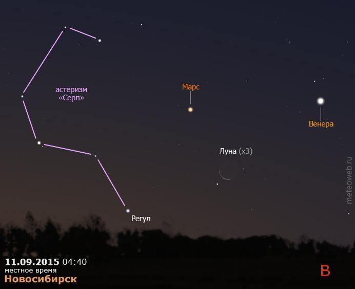 Венера, Марс и убывающая Луна на утреннем небе Новосибирска 11 сентября 2015 г.
