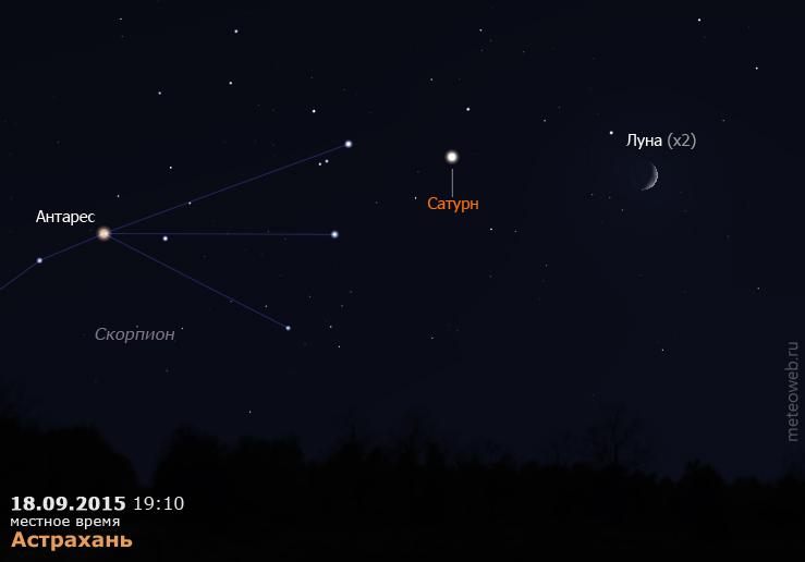 Сатурн и растущая Луна на вечернем небе Астрахани 18 сентября 2015 г.