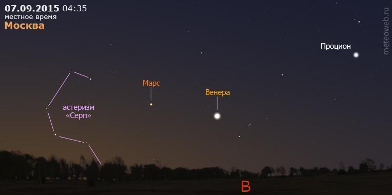 Венера и Марс на утреннем небе Москвы 7 сентября 2015 г.