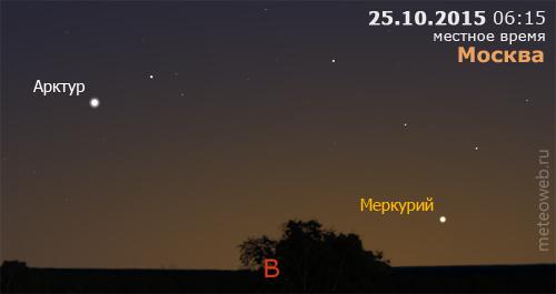 Меркурий и Арктур на утреннем небе Москвы 25 октября 2015 г.