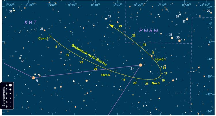 Поисковая карта астероида Веста