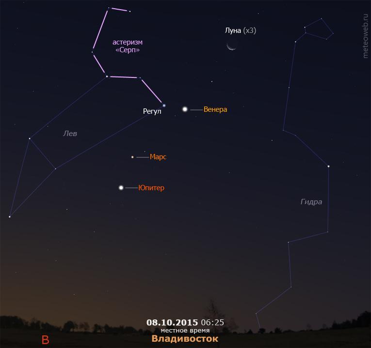 Убывающая Луна, Венера, Марс и Юпитер на утреннем небе Владивостока 8 октября 2015 г.
