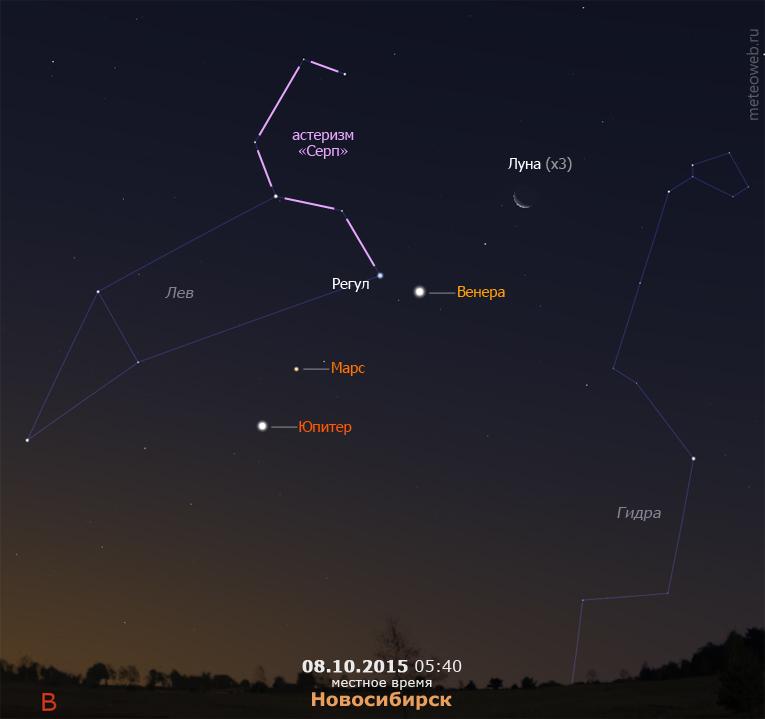 Убывающая Луна, Венера, Марс и Юпитер на утреннем небе Новосибирска 8 октября 2015 г.
