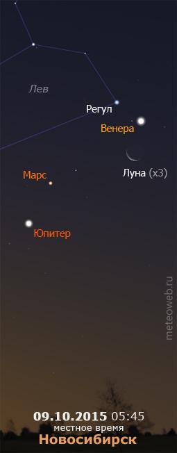 Убывающая Луна, Венера, Марс и Юпитер на утреннем небе Новосибирска 9 октября 2015 г.