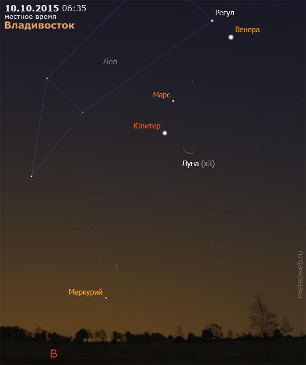 Убывающая Луна, Венера, Марс, Юпитер и Меркурий на утреннем небе Владивостока 10 октября 2015 г.
