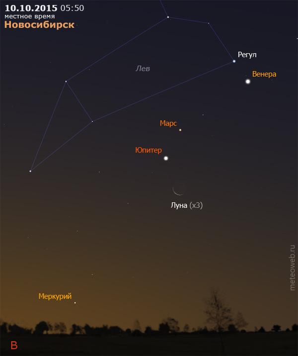 Убывающая Луна, Венера, Марс, Юпитер и Меркурий на утреннем небе Новосибирска 10 октября 2015 г.