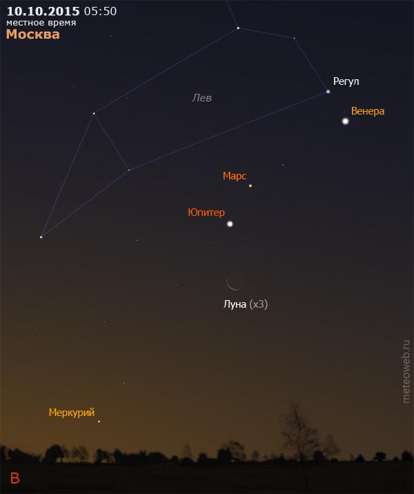 Убывающая Луна, Венера, Марс, Юпитер и Меркурий на утреннем небе Москвы 10 октября 2015 г.