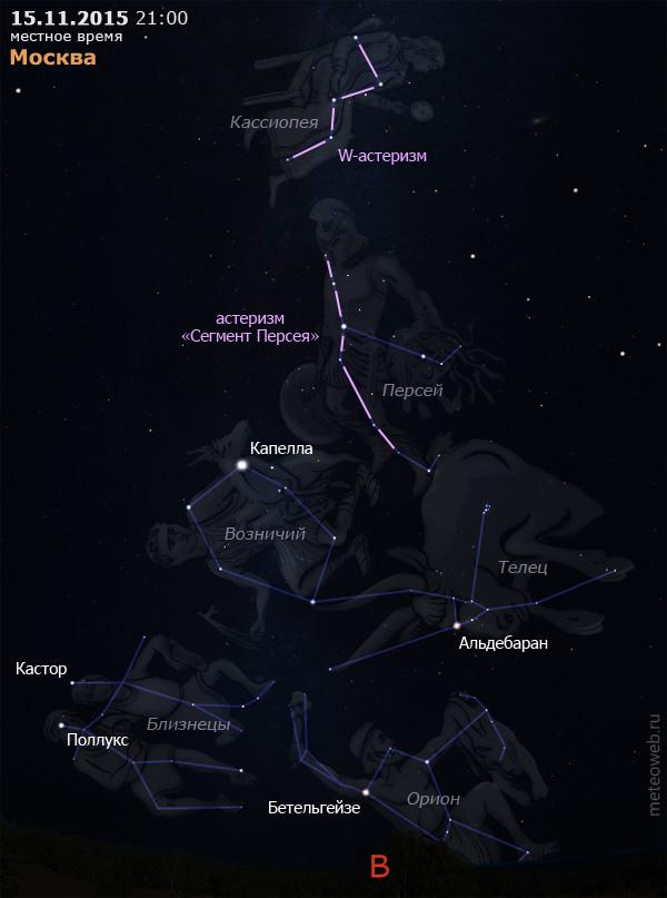 Вечернее небо Москвы 15 ноября 2015 г. Вид на восток.