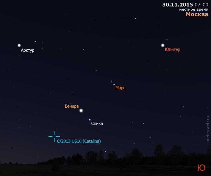 Венера, Марс, Юпитер и комета C/2013US10(Catalina) на утреннем небе Москвы 30 ноября 2015 г.