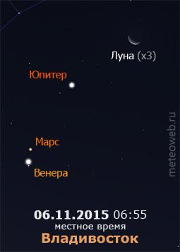 Убывающая Луна на утреннем небе Владивостока 6 ноября 2015 г.