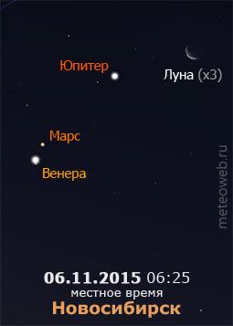 Убывающая Луна на утреннем небе Новосибирска 6 ноября 2015 г.