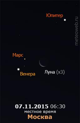 Убывающая Луна на утреннем небе Москвы 7 ноября 2015 г.