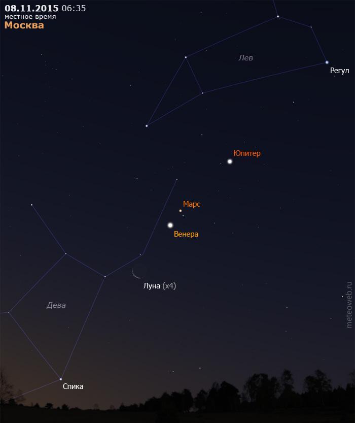 Убывающая Луна на утреннем небе Москвы 8 ноября 2015 г.