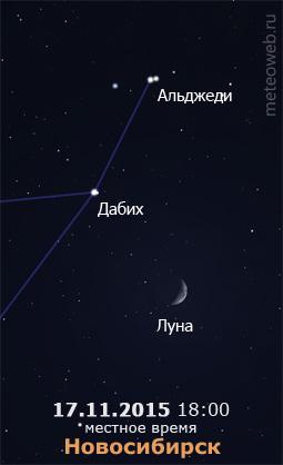Растущая Луна на вечернем небе Новосибирска 17 ноября 2015 г.