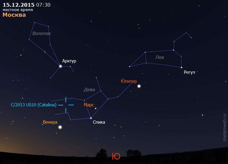 Юпитер, Марс, Венера и комета C/2013US10(Catalina) на утреннем небе Москвы 15 декабря 2015 г.