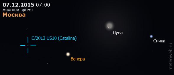 Убывающая Луна на утреннем небе Москвы 7 декабря 2015 г.