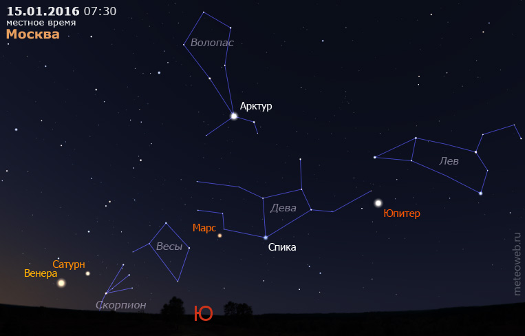 Венера, Сатурн, Марс и Юпитер на утреннем небе Москвы 15 января 2016 г.