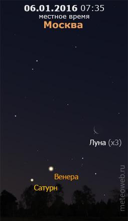 Убывающая Луна на утреннем небе Москвы 6 января 2016 г.