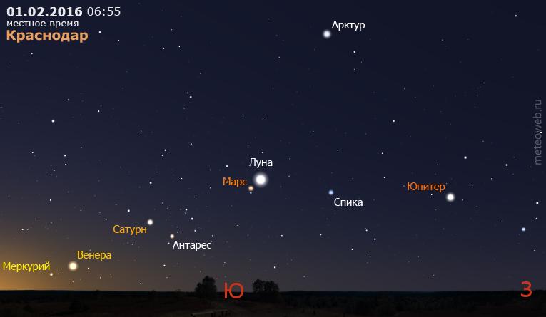 Меркурий, Венера, Сатурн, Марс, Луна и Юпитер на утреннем небе Краснодара 1 февраля 2016 г.