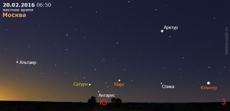Сатурн, Марс и Юпитер на утреннем небе Москвы 20 февраля 2016 г.