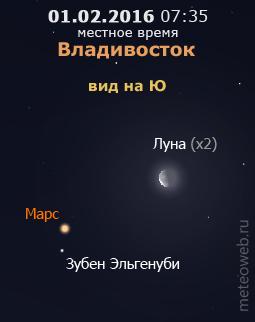 Убывающая Луна и Марс на утреннем небе Владивостока 1 февраля 2016 г.