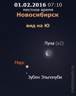 Убывающая Луна и Марс на утреннем небе Новосибирска 1 февраля 2016 г.