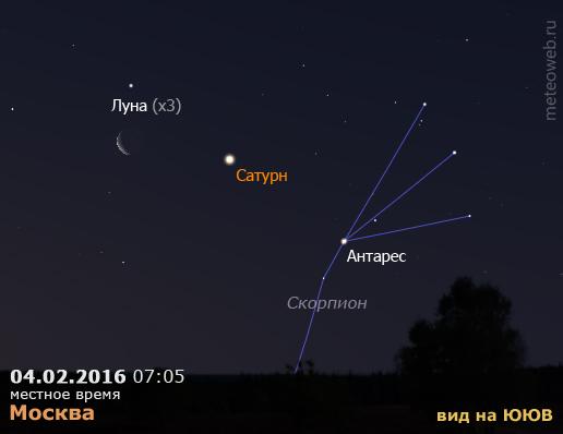 Убывающая Луна и Сатурн на утреннем небе Москвы 4 февраля 2016 г.
