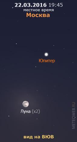 Растущая Луна и Юпитер на вечернем небе Москвы 22 марта 2016 г.