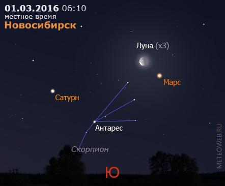 Убывающая Луна, Марс и Сатурн на утреннем небе Новосибирска 1 марта 2016 г.