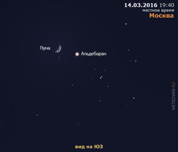 Растущая Луна и Альдебаран на вечернем небе Москвы 14 марта 2016 г.