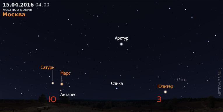 Юпитер, Марс и Сатурн ранним утром 15 апреля 2016 г.