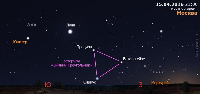 Меркурий и Юпитер вечером 15 апреля 2016 г.