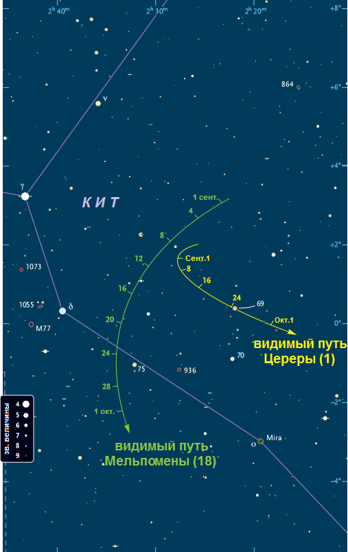 Поисковая карта астероидов Церера (1) и Мельпомена (18)