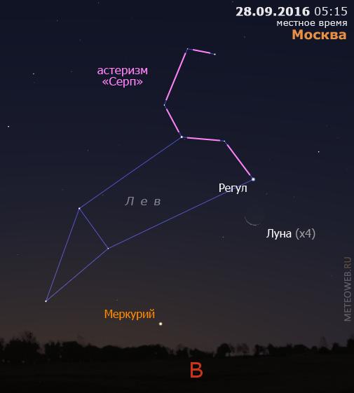 Убывающая Луна и Меркурий на утреннем небе Москвы 28сентября 2016 г.