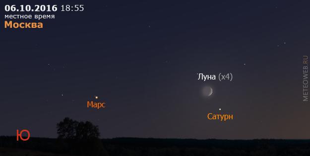 Растущая Луна, Сатурн и Марс на вечернем небе Москвы 6 октября 2016 г.