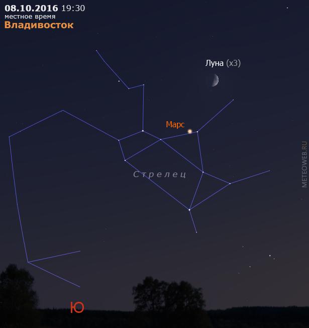 Растущая Луна и Марс на вечернем небе Владивостока 8 октября 2016 г.