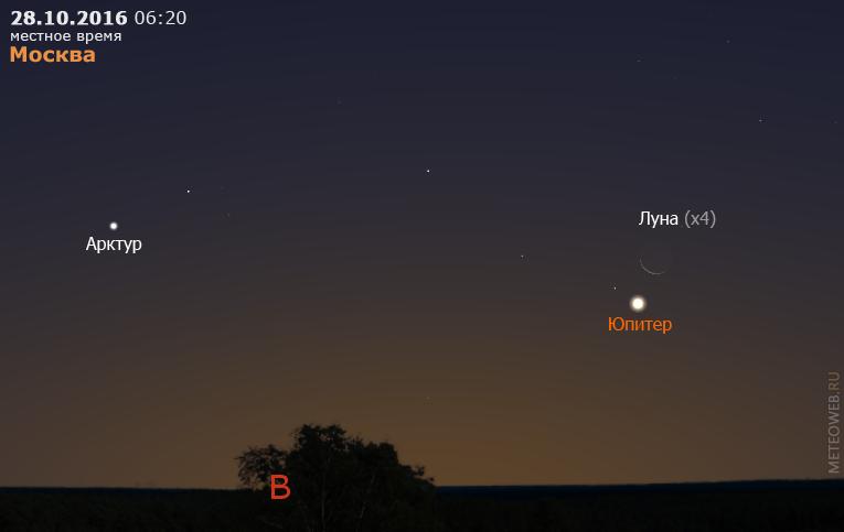 Убывающая Луна и Юпитер на утреннем небе Москвы 28 октября 2016 г.