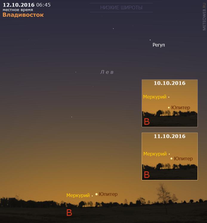 Сближение Меркурия и Юпитера на утреннем небе Владивостока 10–12 октября 2016 г.