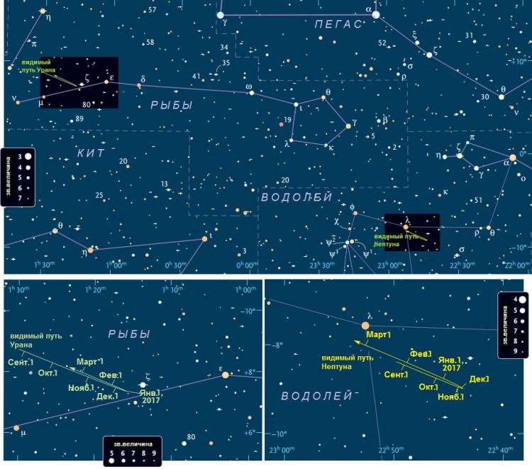 Поисковая карта Урана и Нептуна
