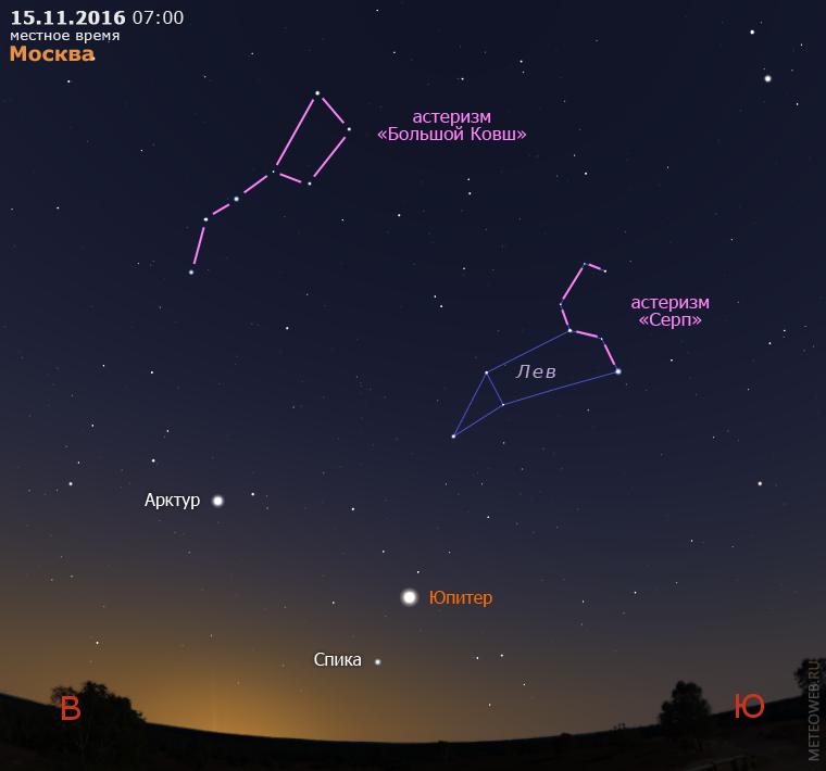 Юпитер на утреннем небе Москвы 15 ноября 2016 г.