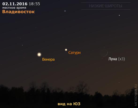 Растущая Луна, Венера и Сатурн на вечернем небе Владивостока 2 ноября 2016 г.