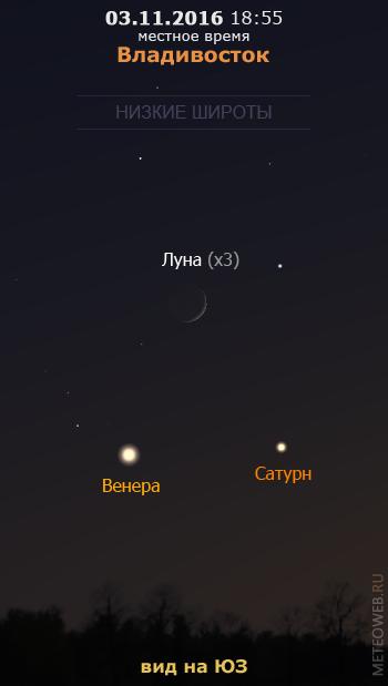 Растущая Луна, Венера и Сатурн на вечернем небе Владивостока 3 ноября 2016 г.
