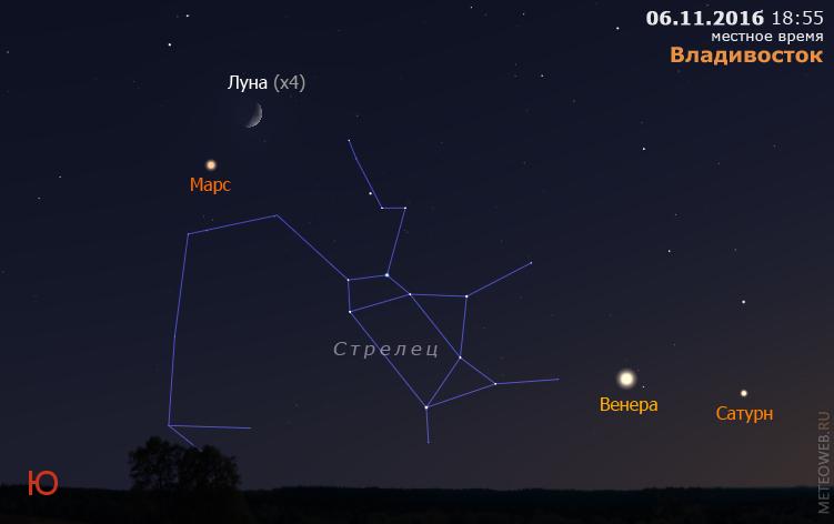 Растущая Луна, Марс, Венера и Сатурн на вечернем небе Владивостока 6 ноября 2016 г.