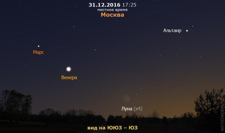 Растущая Луна, Венера и Марс на вечернем небе Москвы 31 декабря 2016 г.