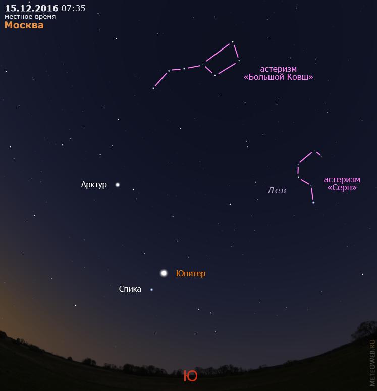 Юпитер на утреннем небе Москвы 15 декабря 2016 г.