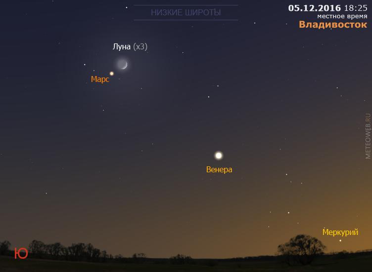Растущая Луна, Венера, Марс и Меркурий на вечернем небе Владивостока 5 декабря 2016 г.