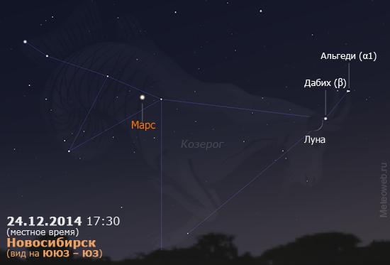 Растущая Луна и Марс на вечернем небе Новосибирска 24 декабря 2014 г.