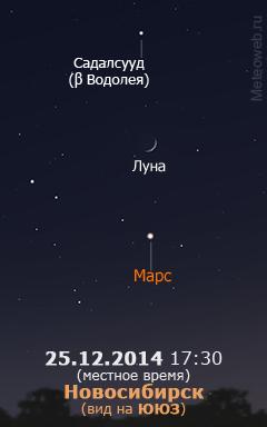 Растущая Луна и Марс на вечернем небе Новосибирска 25 декабря 2014 г.